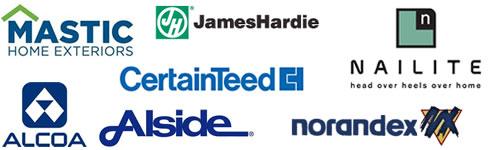 Alside, Nailite, Mastic, Certainteed, James Hardie, Norandex, Alcoa